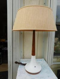 MID CENTURY DANISH TEAK & WHITE CERAMIC TABLE LAMP W ...