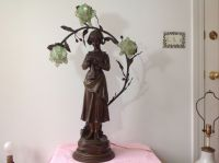 Antique Art Nouveau Deco Bronze Spelter French Figural