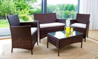 RATTAN GARDEN FURNITURE SET 4 PIECE CHAIRS SOFA TABLE ...
