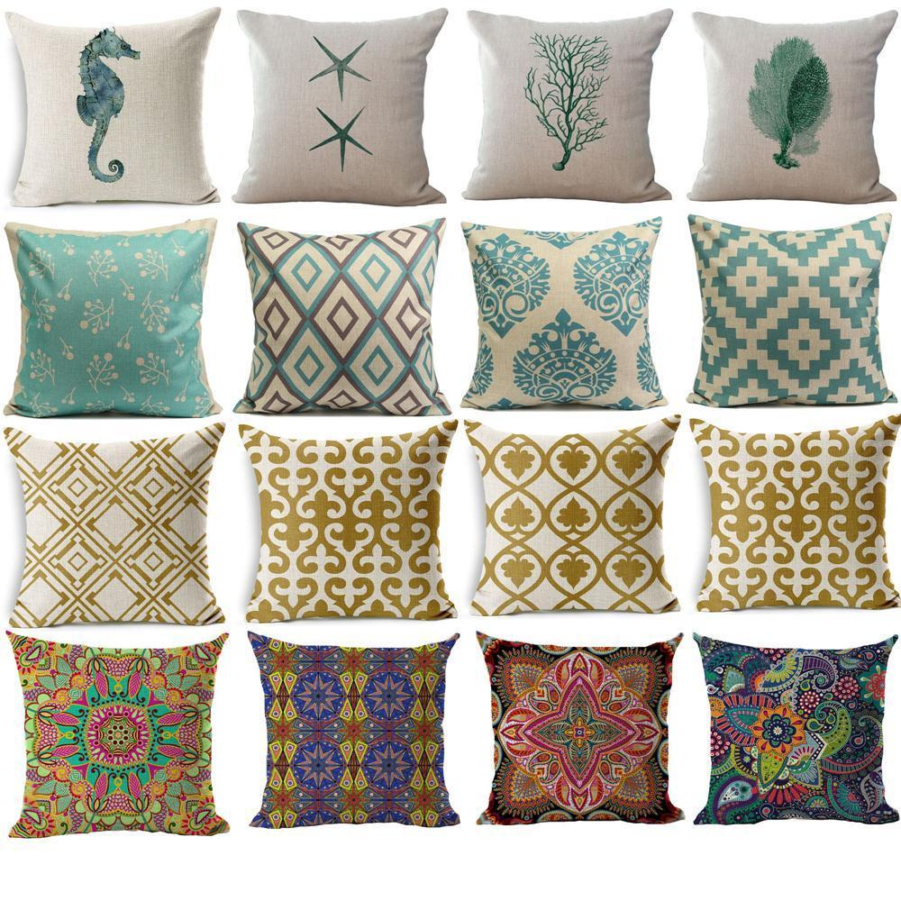 Geometric Flower Ethnic Throw Pillow Cover Case Sofa Decor