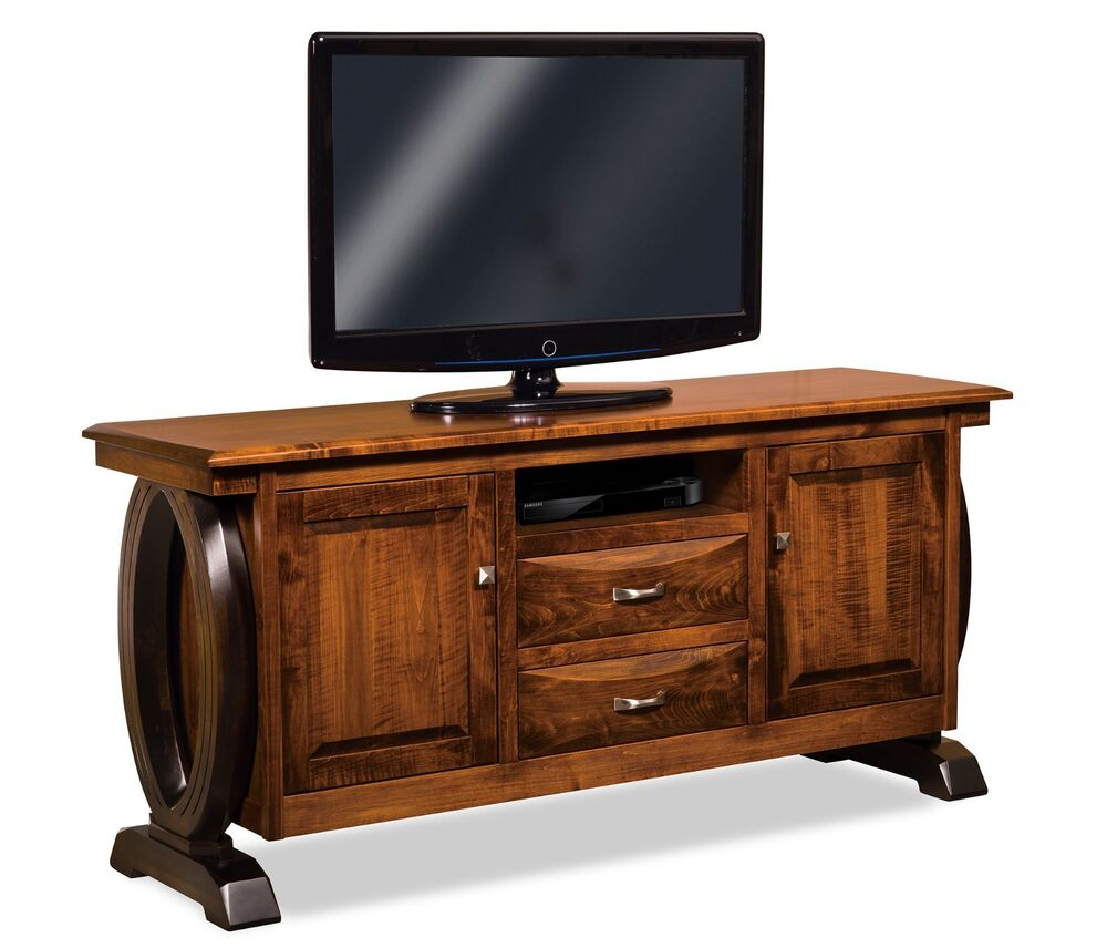 Amish Contemporary Saratoga TV Stand Solid Wood Console