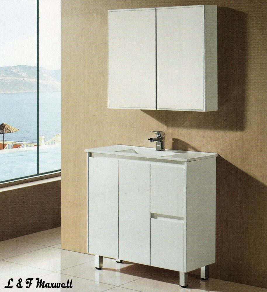 Slim Bathroom Vanity with Finger Pull Soft Close Door and