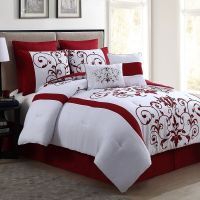 Comforter Set Red 8 Piece Queen Size Luxurious Bedding Bed