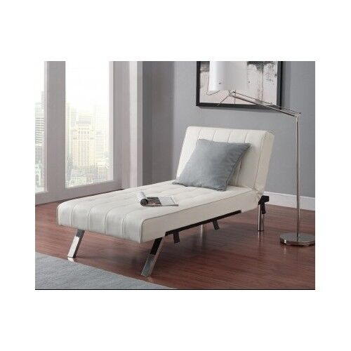 Sofa Couch Futon Chaise Lounger White Leather Furniture