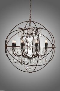 Rustic Iron Crystal ORB Chandelier