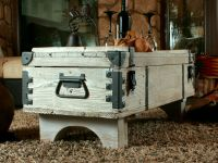 OLD TRAVEL TRUNK Coffee Table Cottage Steamer Trunk WHITE ...