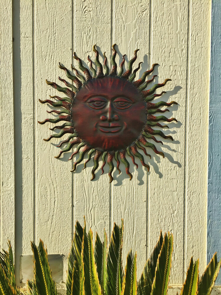 Metal Sun Wall Decor Rustic Garden Art Indoor Outdoor
