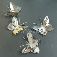 Set8-47 3D Butterfly Wall Decor Mirror Silver Modern ...