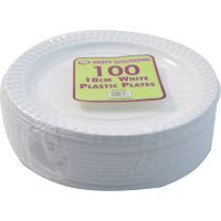 "2000 x WHITE PLASTIC PLATES ROUND 18cm 7"" TABLEWARE PARTY ..."