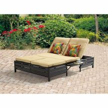 Outdoor Double Chaise Lounge Patio Pool Furniture Set Sofa
