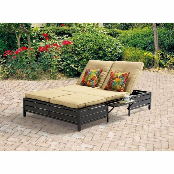 Outdoor Double Chaise Lounge Patio Pool Furniture Set Sofa Tan Bed 2 Seats