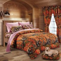 7 PC ORANGE CAMO COMFORTER WITH PINK SHEET SET QUEEN SET ...