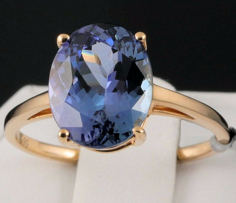 400cts Genuine BiColor Tanzanite Solitaire 14k Solid Yellow Gold Ring Size 7  eBay