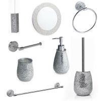Silver Mosaic Bathroom Accessories. Silver Sparkle Mirror ...
