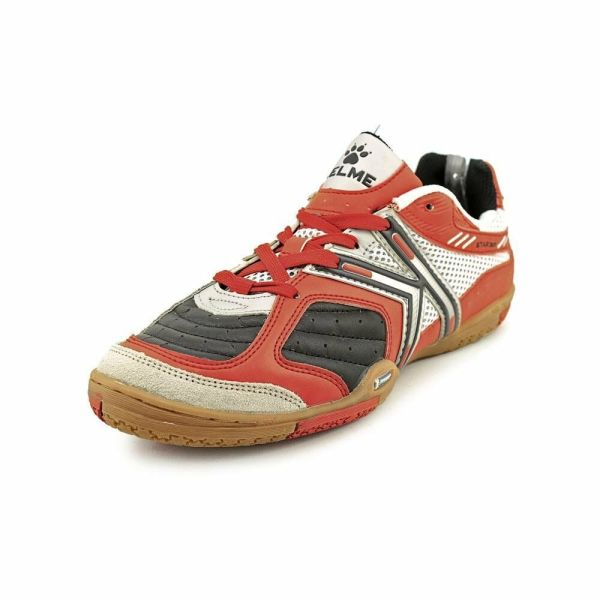 Kelme Star 360 Michelin Mens Leather Indoor Soccer Shoes Black Red
