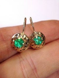 14K Yellow Gold Natural Colombian Emerald Leverback Hook ...