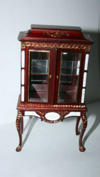DOLLHOUSE MINIATURE HAND-PAINTED WOODEN CURIO CABINET | eBay