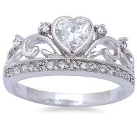 King Queen Heart Crown Ring Solid 925 Sterling Silver 0 ...