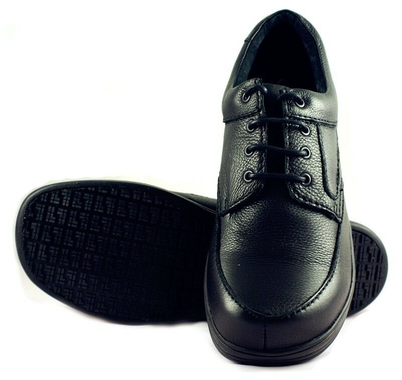 Townforst Mens Non Slip Resistant Work Leather Shoe Black