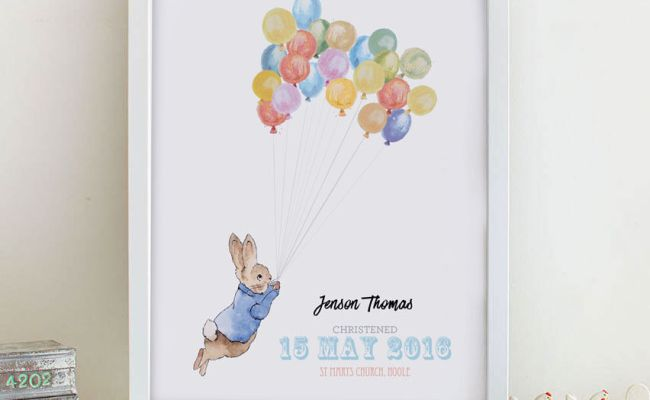 Beatrix Potter Personalised Print Name Word Art Christening New Baby Gift Idea