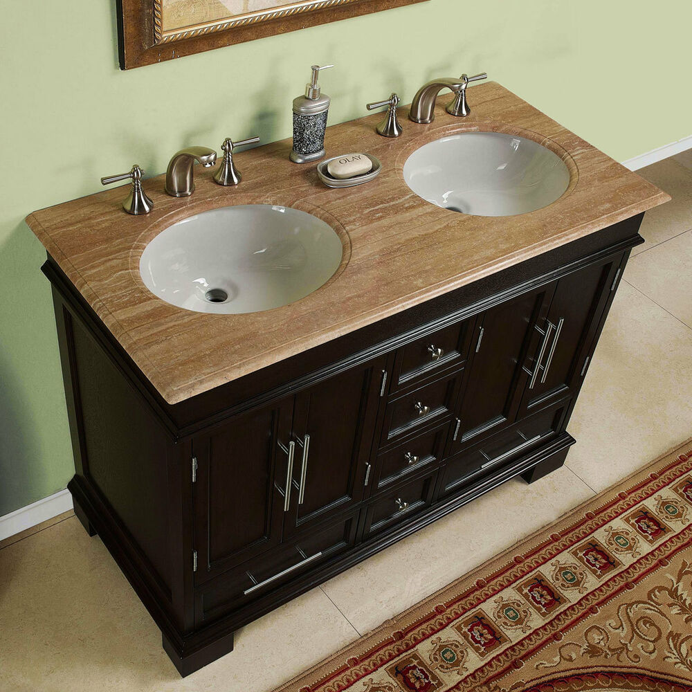 48inch Compact Double Sink Travertine Stone Top Bathroom Vanity Cabinet 0224TR 609224899546  eBay