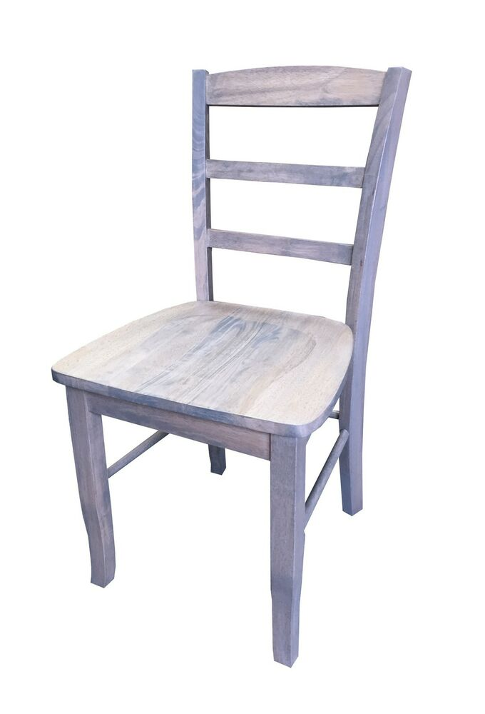 unfinished ladder back chairs wheelchair coat driftwood grey farmhouse chair (rustic solid wood kitchen dinning ch | ebay
