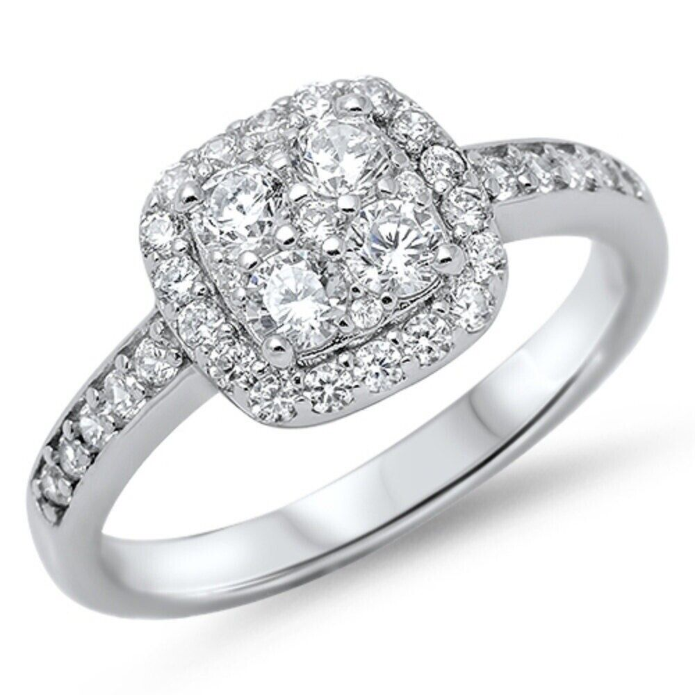 4 Stone Halo Square Wedding Engagement Ring Sterling Silver 160CT Russian CZ  eBay