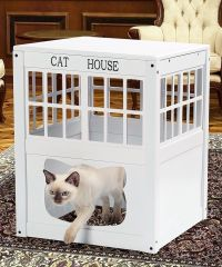 Cat Kitty Litter Hide Away End Table Cabinet Litter Box ...