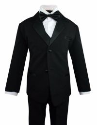 Formal Toddler Boys Tuxedo 5 pieces Set with Satin Vest ...