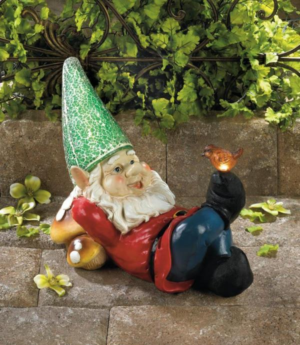 Green Glass Mosaic Outdoor Lazy Gnome Statue Lantern Led