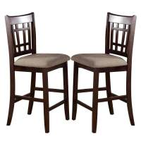 2 pc - Dark Rosy Brown Wood Dining Counter Height High 24 ...