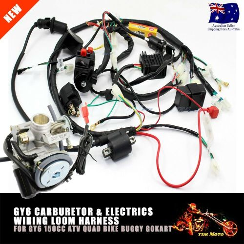 small resolution of carby carburetor electric engine wiring harness for gy6 150cc quad atv ebay