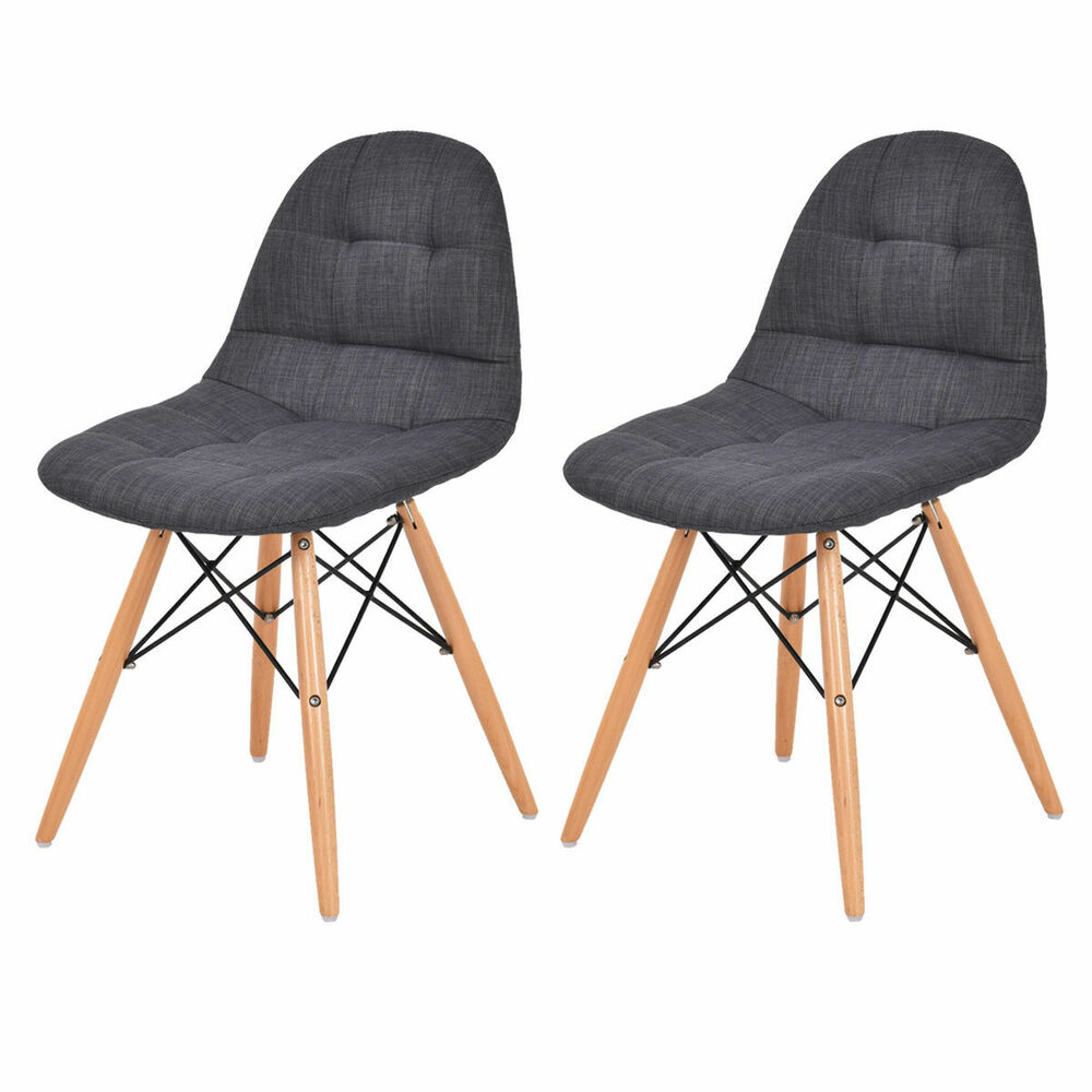 Set of 2 Mid Century Eames Style Upholstered DSW Dining