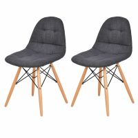 Set of 2 Mid Century Eames Style Upholstered DSW Dining ...