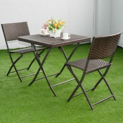 Folding Table And Chair Set Hair Salon Mats 3 Pc Brown Outdoor Furniture Rattan Wicker Details About Bistro Patio