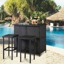 3pc Outdoor Rattan Wicker Bar Set Patio Table & 2