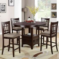 5 PC Dark Rosy Brown Counter Height Dining Set Round ...