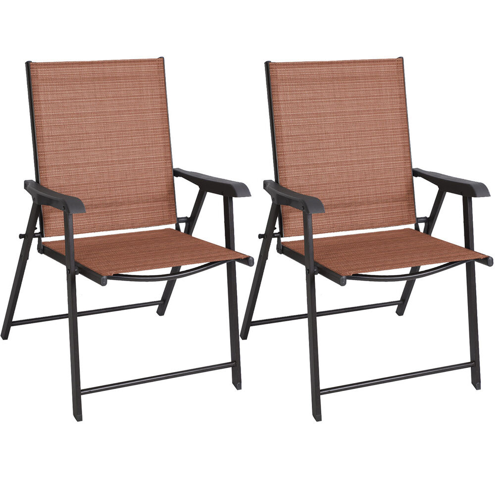 2 PCS Patio Folding Sling Chairs Furniture Camping Deck