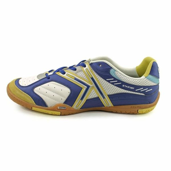 Kelme Star 360 Michelin Mens Leather Indoor Soccer Shoes White Royal