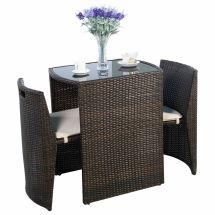 3 Pcs Brown Cushioned Outdoor Wicker Patio Set Garden Lawn