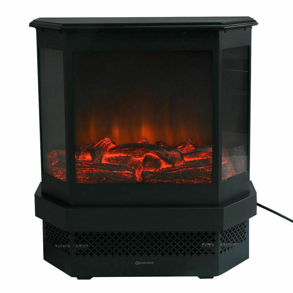 23 Electric Fireplace 1500W Adjustable Heater Fire Tempered Glass Free Standing  eBay