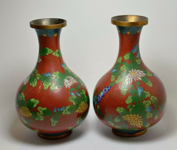 Antique Chinese Cloisonne Vases 2 6.5 '' Tall