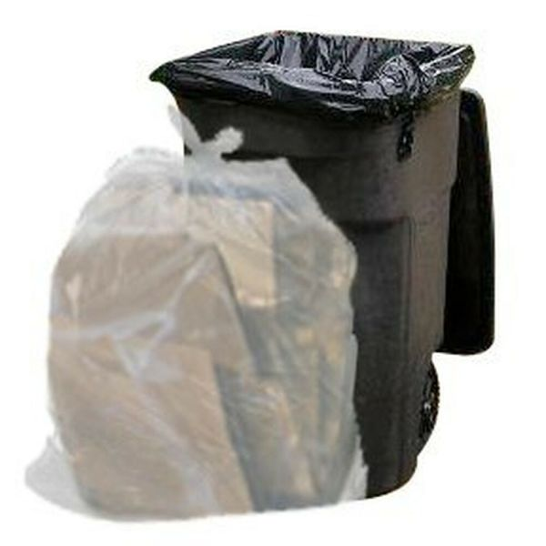 64 Gallon Trash Bags Toter Clear 100 Garbage Case