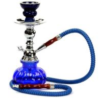 Hookah Pipes 1 Hose Box Blue Water Shisha Bong Glass