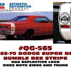 details about qg 565 1969 70 dodge coronet super bee bumble bee stripe licensed [ 1000 x 831 Pixel ]