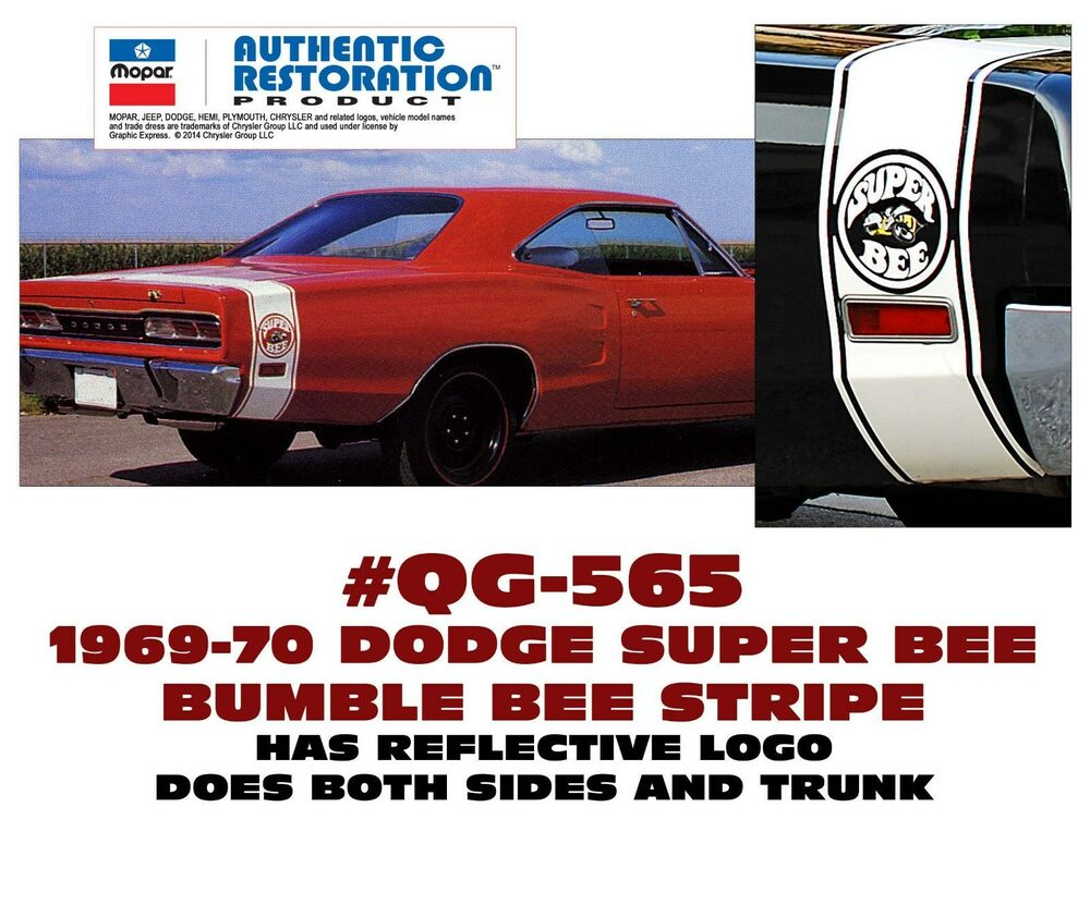 medium resolution of details about qg 565 1969 70 dodge coronet super bee bumble bee stripe licensed