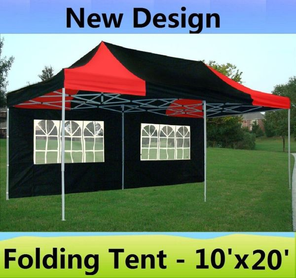10' X 20' Pop Canopy Party Tent Gazebo Ez - Black Red Model 799418235516