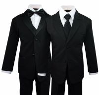 Boys Kids Children Formal Dress Black Suit Tuxedo Toddler ...