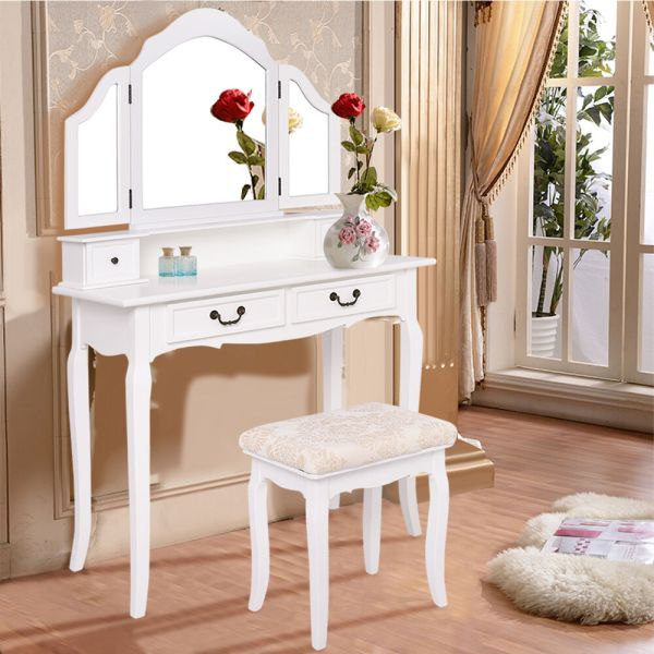 Makeup Vanity Table Set with Drawers