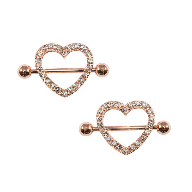 Rose Gold Heart Nipple Ring 14g Ion Plated With Gems 1Pair